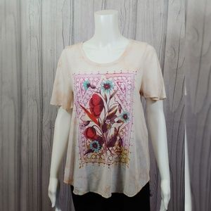 Lucky Brand Floral Graphic Tee Shirt Size XS Boho